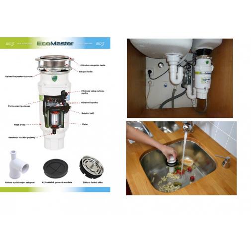 EcoMaster Economy EVO3 + DÁREK, Drtič kuchyňského odpadu pro malé domácnosti
