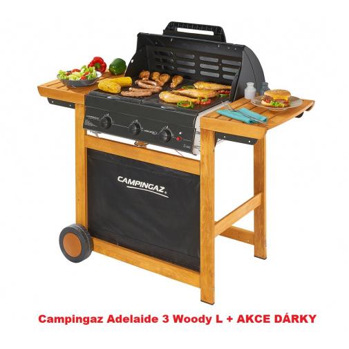 Campingaz Adelaide 3 Woody L + AKCE DÁRKY, Zahradní plynový gril s litinovým roštem /3000004974/