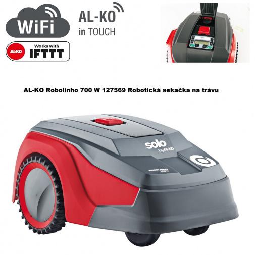 AL-KO Robolinho 700 W 127569 + Komfortní servis, Robotická sekačka na trávu pro plochy do 700m2, WiFi