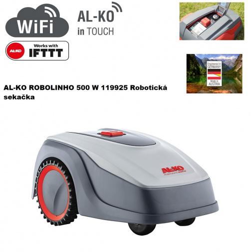 AL-KO Robolinho 500 W 119925 + Komfortní servis, Robotická sekačka na trávu pro plochy do 500m2, WiFi