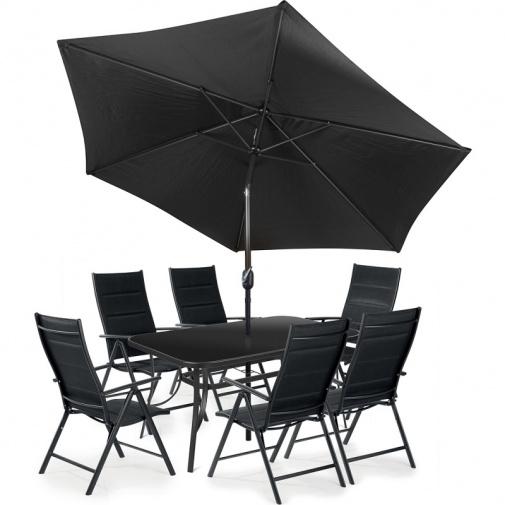 Fieldmann Melisa DARK + AKCE, Zahradní kovová sestava nábytku, 1x stůl, 6x křeslo, 1x slunečník