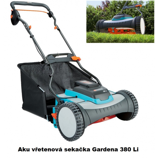 Gardena 380 ACU Li 4025-20 + AKCE, Aku vřetenová sekačka na trávu + sběrný koš, 25V - 3,0 Ah