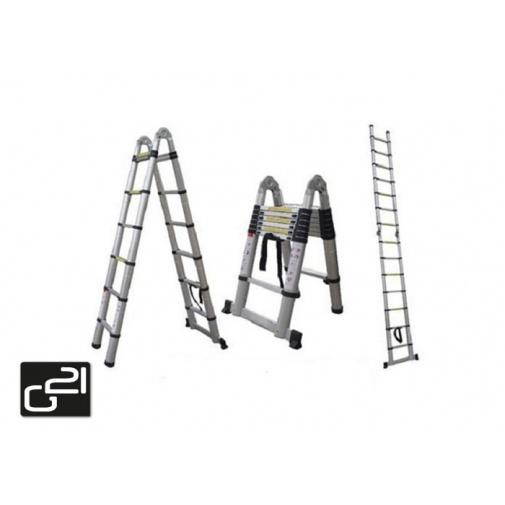 G21 GA-TZ16-5M Teleskopický hliníkový žebřík, kloubové štafle /6390453/