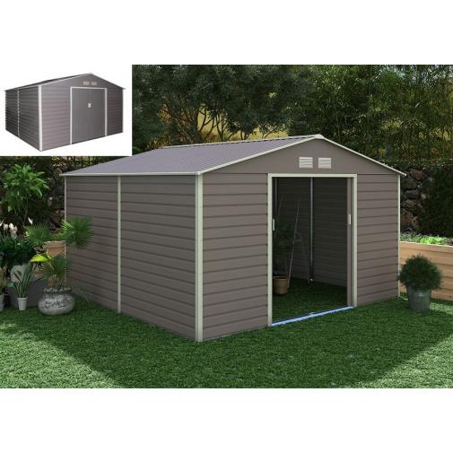G21 GAH 1085 šedý Zahradní plechový domek na nářadí 340 x 319 cm