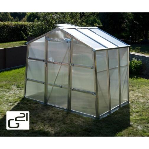G21 GZ-48 + AKCE, Zahradní polykarbonátový skleník , pozinkovaná konstrukce, 251 x 191 cm