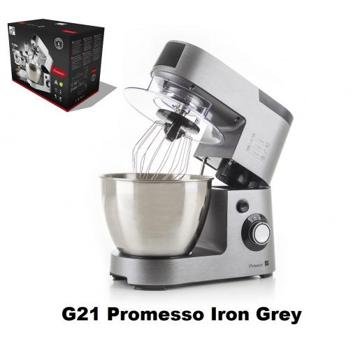 G21 Promesso Iron Grey + Záruka 2+2, Celokovový kuchyňský robot šedý 1500W