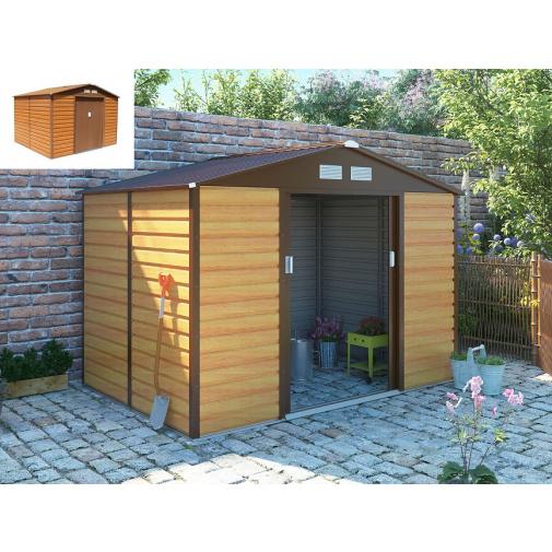 G21 GAH 529 hnědý + AKCE, Zahradní domek na nářadí plechový 277 x 191cm, dekor dřeva