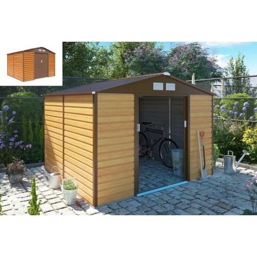 G21 GAH 706 hnědý + AKCE, Zahradní plechový domek na nářadí 277 x 255cm, dekor dřeva