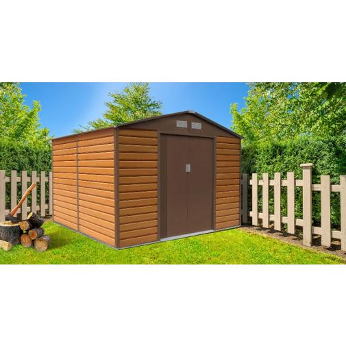 G21 GAH 884 hnědý + AKCE, Zahradní plechový domek na nářadí 2,7 x 3,1 m, dekor dřeva