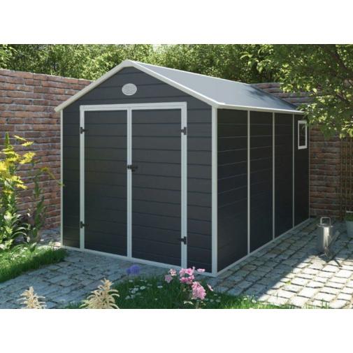 G21 PAH 882 šedý Zahradní domek na nářadí 2,4 x 3,6 m, tvrzený plast