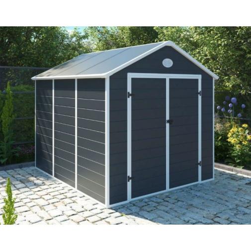 G21 PAH 670 šedý + AKCE, Velký zahradní domek na nářadí 2,4 x 2,8 m, tvrzený plast