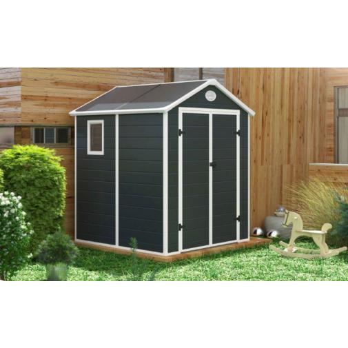 G21 PAH 357 šedý + AKCE, Zahradní domek na nářadí, tvrzený plast, 1,8 x 1,9 m
