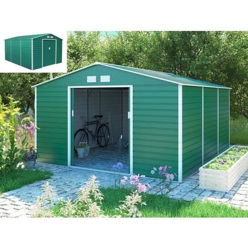G21 GAH 1300 zelený + AKCE, Zahradní plechový domek na nářadí 340 x 382 cm