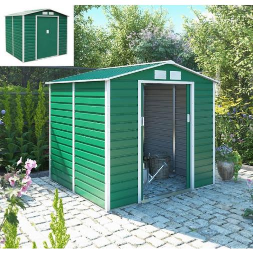 G21 GAH 407 zelený + AKCE, Zahradní domek na nářadí plechový, 213x191cm