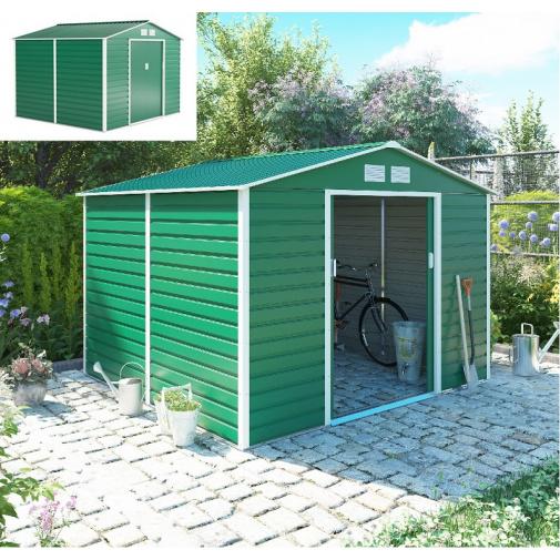 G21 GAH 706 zelený + AKCE, Zahradní plechový domek na nářadí 277 x 255 cm