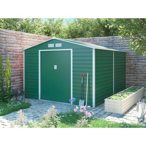 G21 GAH 884 zelený + AKCE, Zahradní plechový domek na nářadí 277 x 319 cm