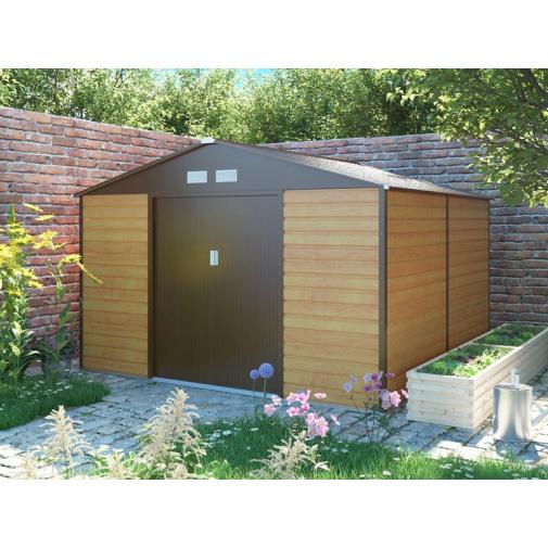 G21 GAH 1300 hnědý + AKCE, Zahradní plechový domek na nářadí 340 x 382 cm