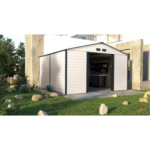 G21 GAH 1085 béžovo šedý + AKCE, Zahradní plechový domek na nářadí 340 x 319 cm,