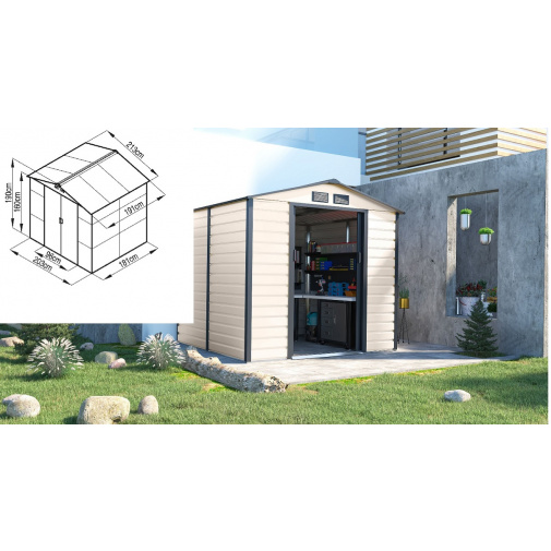 G21 GAH 407 béžovo šedý + AKCE, Plechový zahradní domek 213x191 cm /6390063/