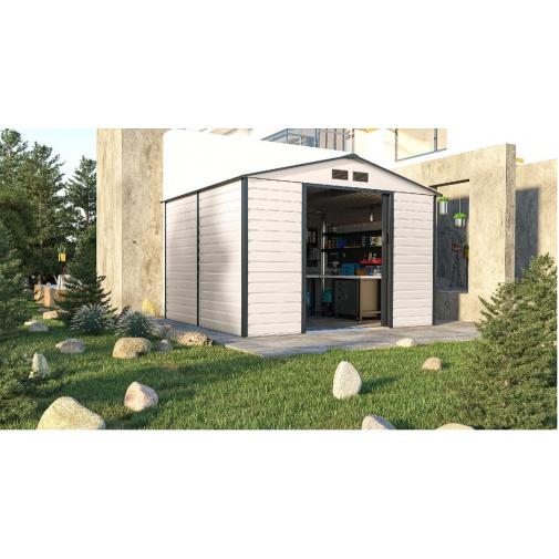 G21 GAH 706 béžovo šedý + AKCE, Plechový zahradní domek - 277x255 cm /6390065/