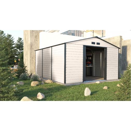 G21 GAH 1300 béžovo šedý + AKCE, Velký plechový zahradní domek 340 x 382 cm, /6390068/
