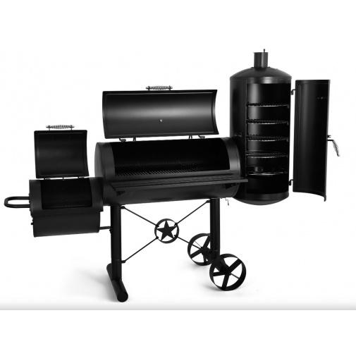 G21 Kentucky BBQ Velký zahradní gril s udírnou na dřevěné uhlí, dřevo nebo brikety