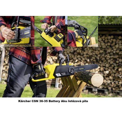 Kärcher CSN 36-35 Battery 1.444-050.0 Aku řetězová pila s vysokou rychlostí řetězu, lišta 35cm, 36V/2,5Ah