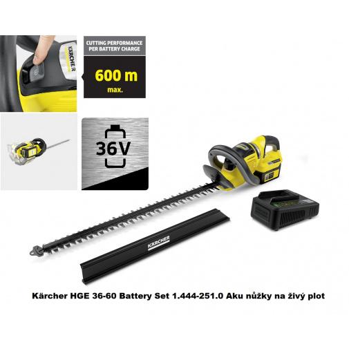 Kärcher HGE 36-60 Battery Set 1.444-251.0 Aku nůžky na živý plot, lišta 60cm, 36V/2,5Ah