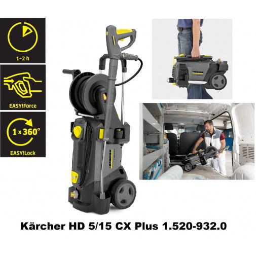 Kärcher HD 5/15 CX Plus 1.520-932.0 + AKCE a Záruka 3 roky, Profi tlaková myčka s navíjecím bubnem, 230V, 200 bar