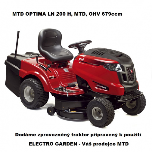 MTD OPTIMA LN 200 H + AKCE Zprovoznění, Zahradní dvouválcový traktor s košem, OHV 679ccm