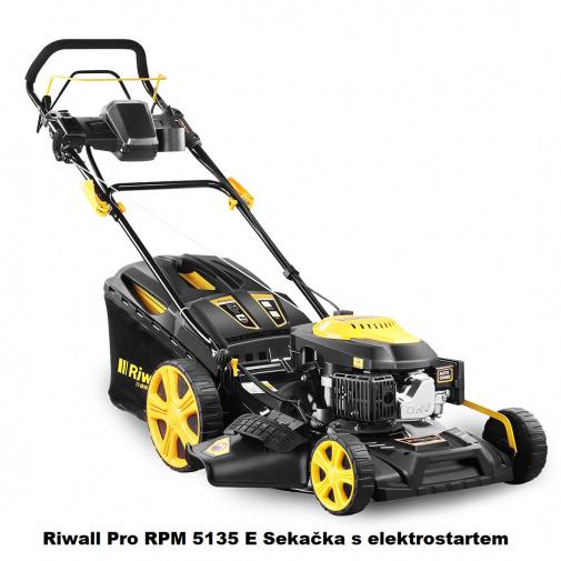 Riwall Pro RPM 5135 E + AKCE a DÁREK, Benzínová sekačka s pojezdem a elektrostartem, záběr 51cm
