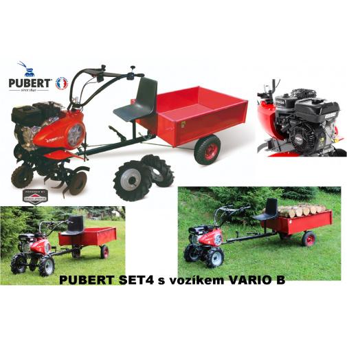 PUBERT SET4 + AKCE, Zahradní jednoosý traktůrek s vozíkem VARIO B