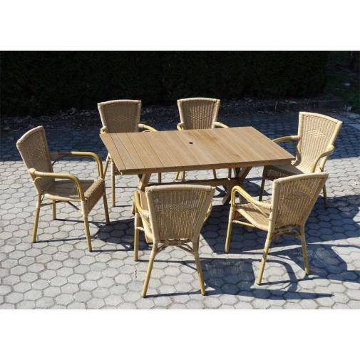 VeGA AXEL SET 6-AL + AKCE, Zahradní stolová sestava nábytku z umělého ratanu