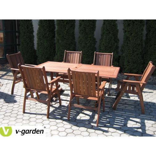 V-Garden Meranti Victoria SET 6 Zahradní dřevěný nábytek, sestava 6-ti křesel a stolu