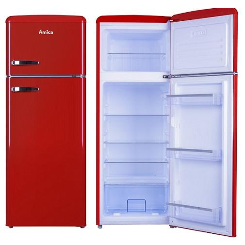 Amica VD 1442 AR červená RETRO lednice s mrazákem nahoře 144cm