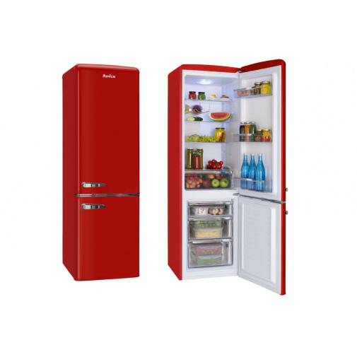 Amica KGCR 387100 R červená Retro kombinovaná lednice s mrazákem dole 181cm