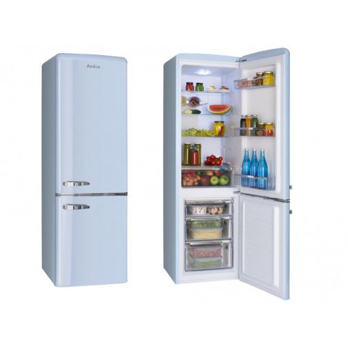 Amica KGCR 387100 L modrá + AKCE, Retro kombinovaná chladnička, A++,181cm