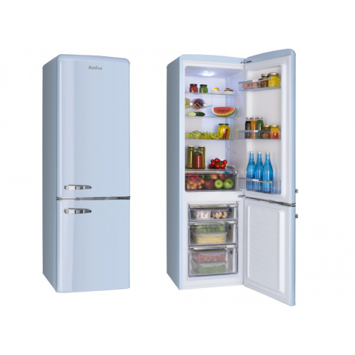Amica KGCR 387100 L modrá Retro kombinovaná lednice 181cm
