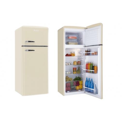 Amica VD 1442 AM béžová Retro lednice s mrazákem nahoře, A++,144cm