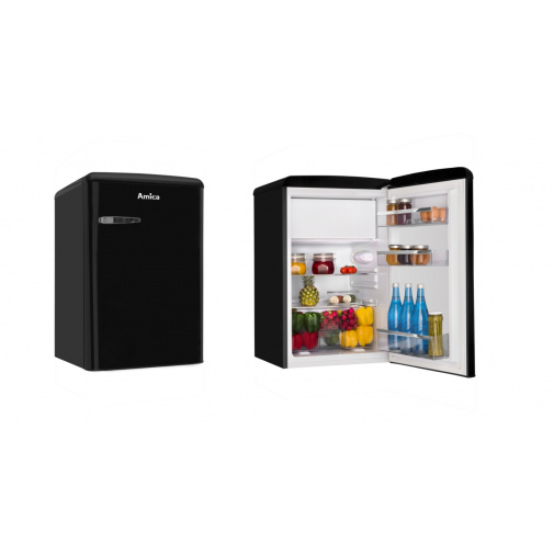 Amica VT 862 AB černá Retro jednodveřová chladnička, A++,86cm
