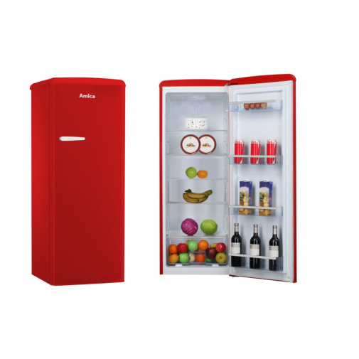 Amica VJ 1442 R Monoklimatická retro chladnička červená, A++,144cm