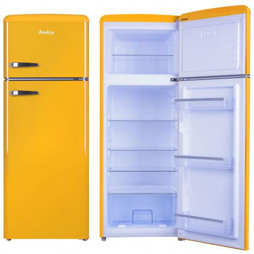 Amica VD 1442 AY žlutá RETRO lednice s mrazákem nahoře 144cm