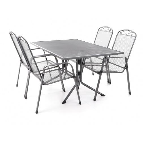 MFG ZINGST 4 PLUS - 120 Zahradní kovová sestava nábytku, tahokov, 4x křeslo, 1x stůl