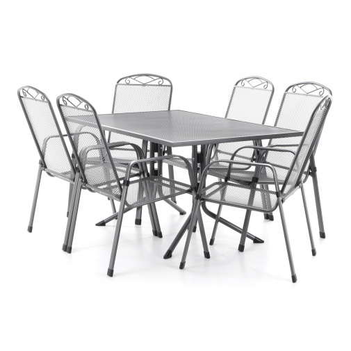 MFG ZINGST 6 - 140 Zahradní kovová sestava nábytku, tahokov, 6x křeslo, 1x stůl