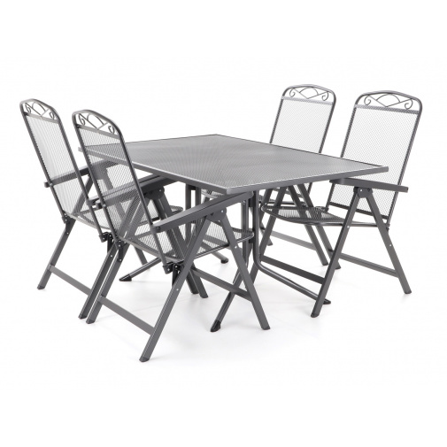 MFG ZINGST 4 De Lux - 120 Zahradní kovová sestava nábytku, takokov, 4x křeslo, 1x stůl