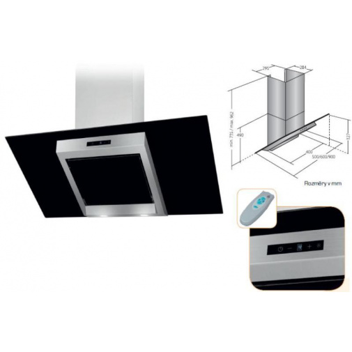 Cata Empire VIP KD 524090 + AKCE%, Digestoř komínová 90cm, nerez/černé sklo