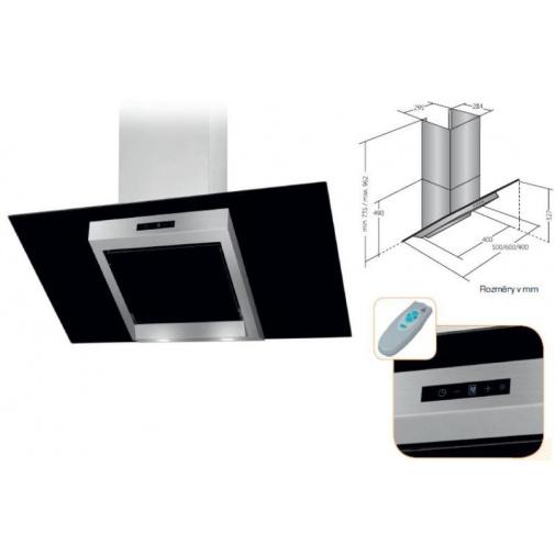 Cata Empire VIP KD 524090 + Dárek%, Digestoř komínová 90cm, nerez/černé sklo