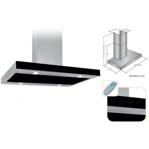 Cata Empire VIP KD 522090 + Dárek%, Digestoř komínová 90cm, nerez/černé sklo