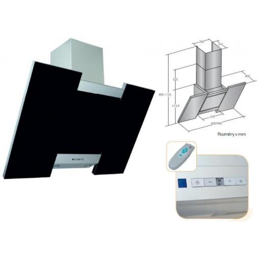 Cata Empire VIP KD 521060 Digestoř komínová šikmá 60cm, nerez/černé sklo + dálkové ovládání