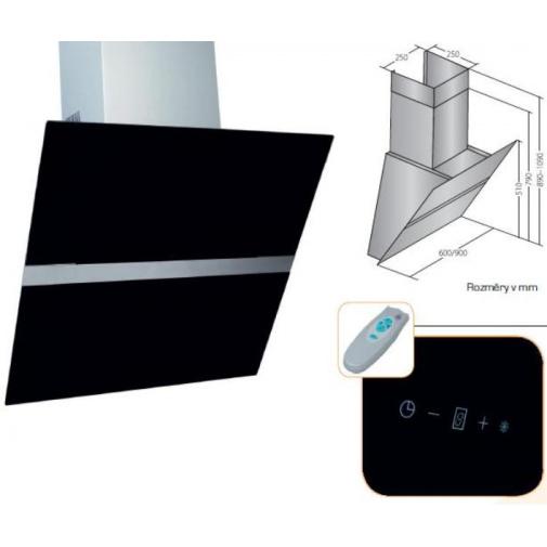 Cata Empire VIP KD 519090 + Dárek%, Digestoř komínová šikmá 90cm, nerez/černé sklo